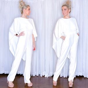 AmandaRSowards Pants - White Open Back Cape Pants Jumper with Pockets